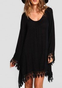 Black Irregular Tassel Round Neck Long Sleeve Mini Dress