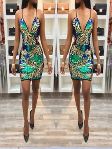 Golden Floral Spaghetti Strap Backless Sequin Deep V-Neck Fashion Party Mini Dress