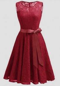 Wine Red Patchwork Lace Draped Bow Belt Sleeveless Elegant Midi Dress