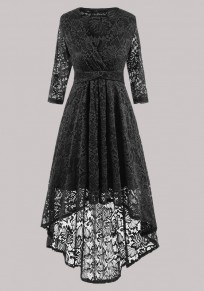 Black Floral Lace Draped High-low Swallowtail High Waisted Homecoming Party Maxi Dress