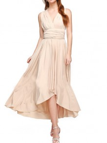 Champagne Multi-Way Wrap Irregular Tie Back Backless V-Neck Bridesmaid Prom Party Maxi Dress