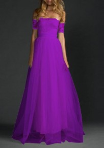 Purple Draped Lace Grenadine Off Shoulder Backless For Wedding Party Maxi Dress
