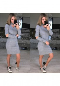 Grey Cut Out Wrap V-neck Long Sleeve Casual Midi Dress