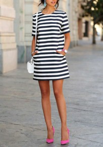 Black And White Striped Fashion Short Sleeve Casual Mini Dress