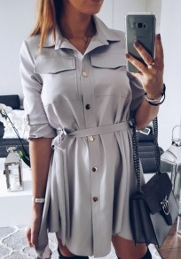 Light Grey Belt Pocket Single Breasted Turndown Collar Elbow Sleeve Casual Mini Dress