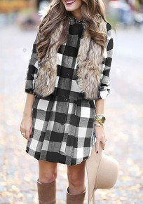 White-Black Plaid Single Breasted Sashes Turndown Collar Long Sleeve Mini Dress