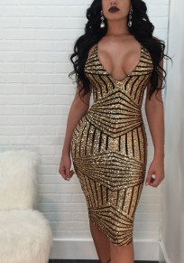 Golden Geometric Sequin Glitter Sparkly Spaghetti Strap Backless Deep V-neck Bodycon Clubwear NYE Party Midi Dress