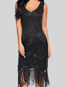Black Patchwork Tassel Studded Sequin Glitter Prom Evening Party NYE Flapper Maxi Dress