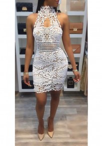 White Patchwork Lace Backless Halter Neck Cut Out Prom Evening Part Mini Dress