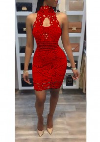 Red Patchwork Lace Backless Halter Neck Cut Out Prom Evening Part Mini Dress