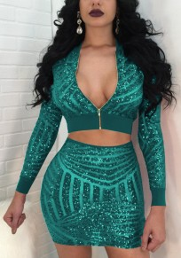 Turquoise Green Geometric Sequin Grenadine Deep V-neck Sheer Two Piece Club Mini Dress