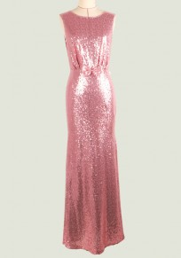 Pink Sequin Bow Cut Out Round Neck Sleeveless Maxi Dress