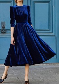 Blue Draped Round Neck 3/4 Sleeve Vintage Pleuche Maxi Dress