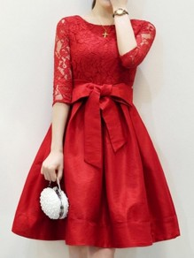Red Patchwork Lace Bow Pockets Round Neck Skate Midi Dress