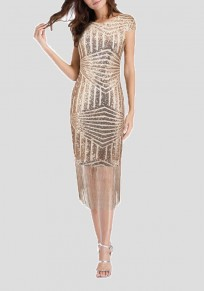 Champagne Patchwork Sequin Tassel Bodycon Sparkly New Year Eve Party Flapper Midi Dress
