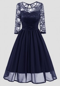 Navy Blue Patchwork Lace Round Neck Long Sleeve Vintage Midi Dress