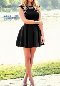 Black Pleated Ruffle Round Neck Homecoming Party Skater Formal Midi Dress