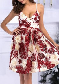 White Pleated Spaghetti Strap Backless Appliques Homecoming Party Deep V-neck Sweet Midi Dress