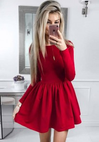 Red Ruffle Round Neck Long Sleeve Fashion Mini Dress