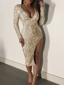 Golden Sequin Side Slit Sparkly Bodycon Deep V-neck NYE Party Midi Dress