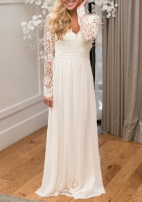 White Cut Out Lace Draped Backless Banquet Deep V-neck Elegant Party Maxi Dress