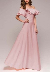 Pink Ruffle Draped Off Shoulder High Waisted Banquet Elegant Party Maxi Dress