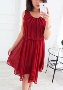 Burgundy Irregular Pleated Ruched Cute Sweet Homecoming Party Bohemian Midi Dress