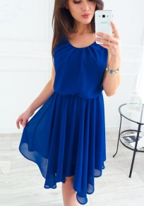 Blue Irregular Round Neck Bohemian Midi Dress