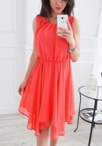 Watermelon Red Irregular Round Neck Bohemian Midi Dress