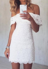 White Lace Backless Ruffle Off Shoulder Bodycon Sweet Graduated Homecoming Party Country Mini Dress