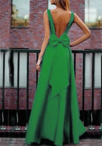 Green Bow Pleated Backless V-neck High Waisted Elegant Banquet Party Maxi Dress