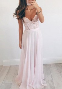 Pink Lace Draped Beading Spaghetti Strap Elegant Banquet Bridesmaid Sweet Party Maxi Dress