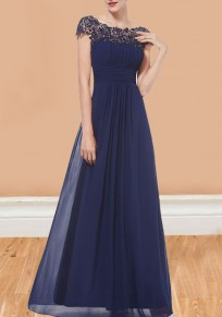 Navy Blue Patchwork Lace Cut Out Backless Draped Elegant Chiffon Prom Maxi Dress