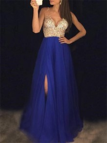 Royal Blue Patchwork Sequin Pleated Side Slit Bridesmaid Banquet Party Maxi Dress