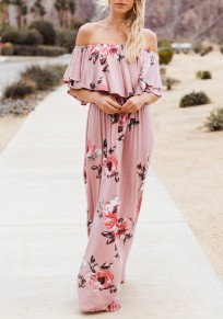 Pink Flowers Ruffle Pleated Off Shoulder Backless Bohemian Beach Maxi Dress