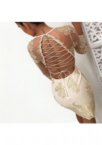 Golden Patchwork Lace Bright Wire Tie Back Deep V-neck Bodycon Party Mini Dress