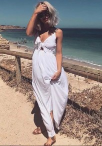 White Plain Spaghetti Strap Bow V-neck Sleeveless Casual Beach Midi Summer Dress