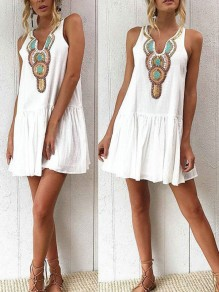 White Tribal Print Embroidery Buttons Ruffle A-Line Mexican Cute Party Mini Dress
