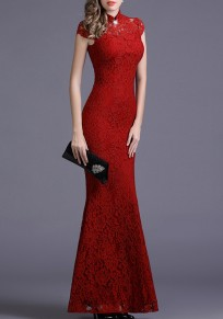 Red Cut Out Lace Draped Backless Bodycon Banquet Elegant Party Maxi Dress