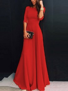 Red Plain Draped Round Neck Three Quarter Length Sleeve Elegant Maxi Dress