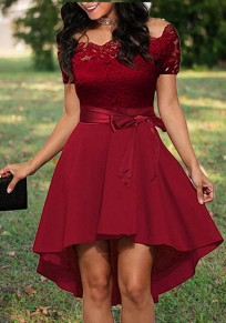 Burgundy Lace Irregular Draped Sashes Off Shoulder High-low Elegant Party Midi Dress
