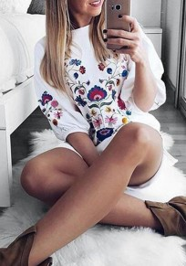 White Flowers Embroidery Puff Sleeve Mexico Sweet Party Mini Dress