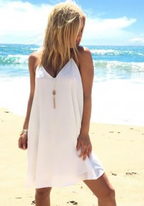 White Plain Condole Belt V-neck Sleeveless Fashion Mini Dress