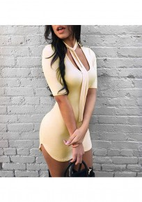Yellow Cut Out Scoop Neck Short Sleeve Fashion Mini Dress