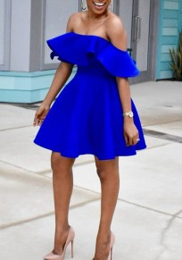 Blue Ruffle Pleated Off Shoulder High Waisted Backless Tutu Graduation Party Midi Dress