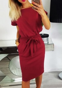 Burgundy Sashes Pockets Bow Round Neck Casual Elegant Party Midi Dress