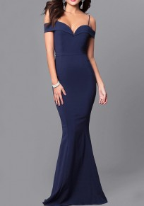 Sapphire Blue Ruffle Spaghetti Strap Off Shoulder Backless Banquet Elegant Party Maxi Dress