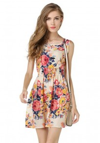 Pink Flowers Print Round Neck Fashion Mini Dress