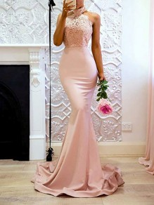 Pink Lace Halter Neck Backless Mermaid For Wedding Gowns Elegant Party Maxi Dress