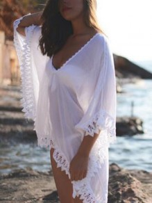 White Patchwork Lace Irregular Fringe Sheer Deep V-neck Bohemia Beach Cover Up Kimono